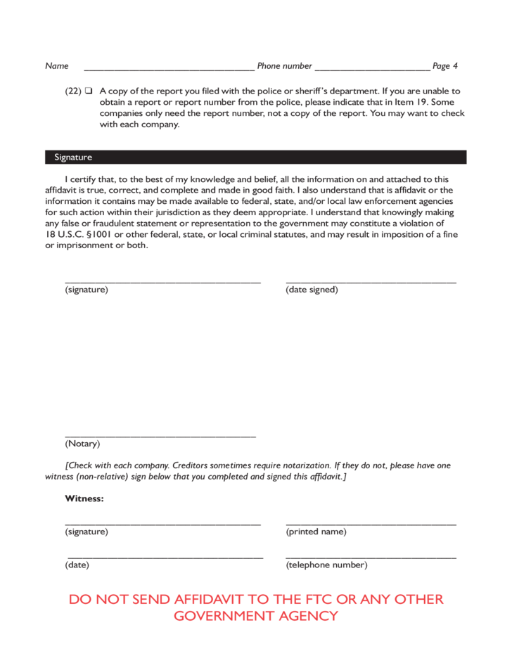Identity Theft Affidavit Form - Texas Free Download