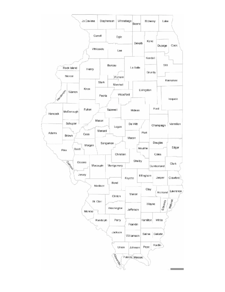 Illinois County Map With County Names Free Download