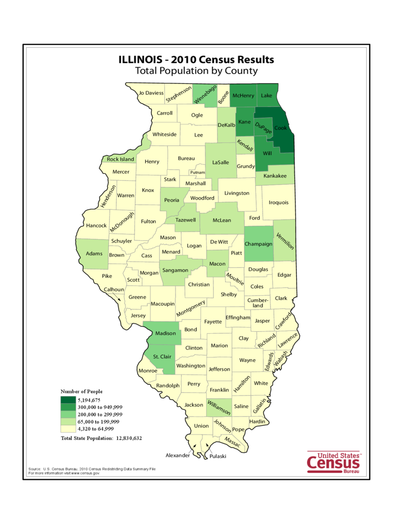 Illinois County Population Map