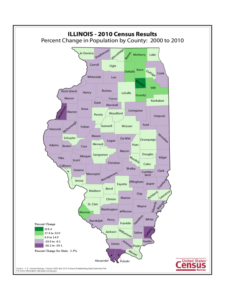 Illinois County Population Change Map