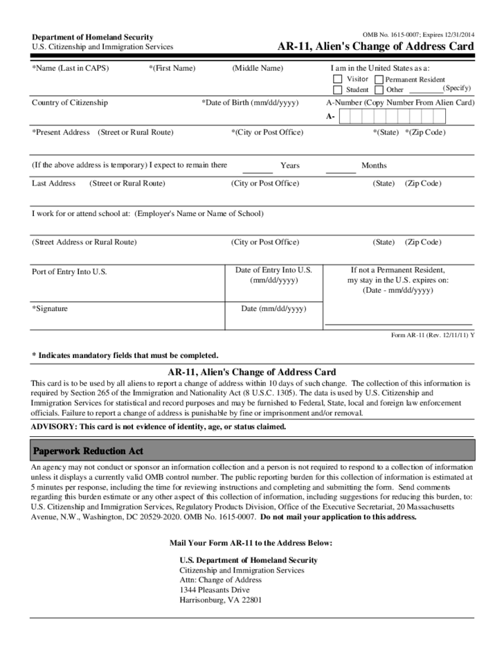 Immigration Address Change Form L
