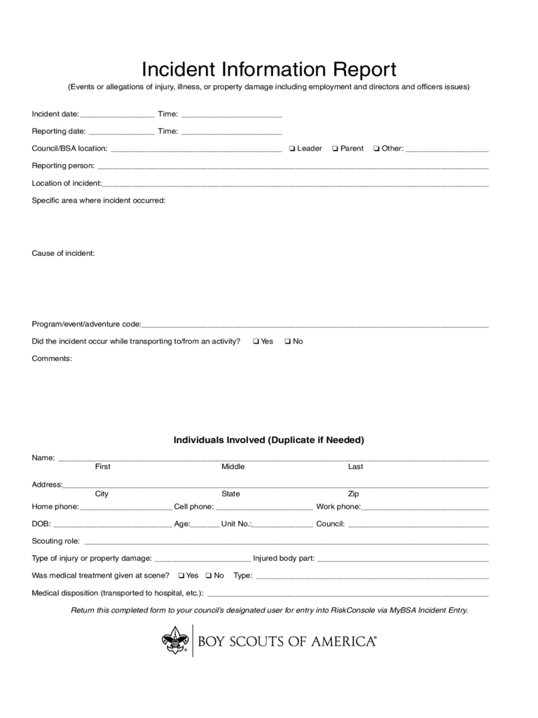 Sample Incident Report Form
