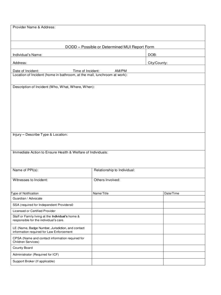 Incident Report Form - Ohio
