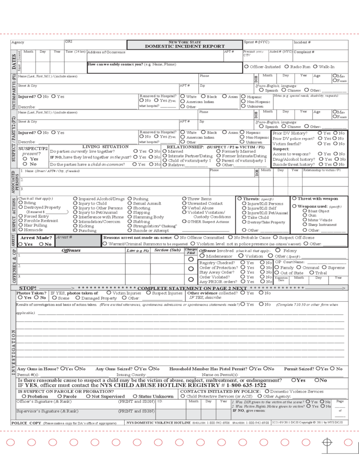 Standardized Domestic Incident Report New York Free Download