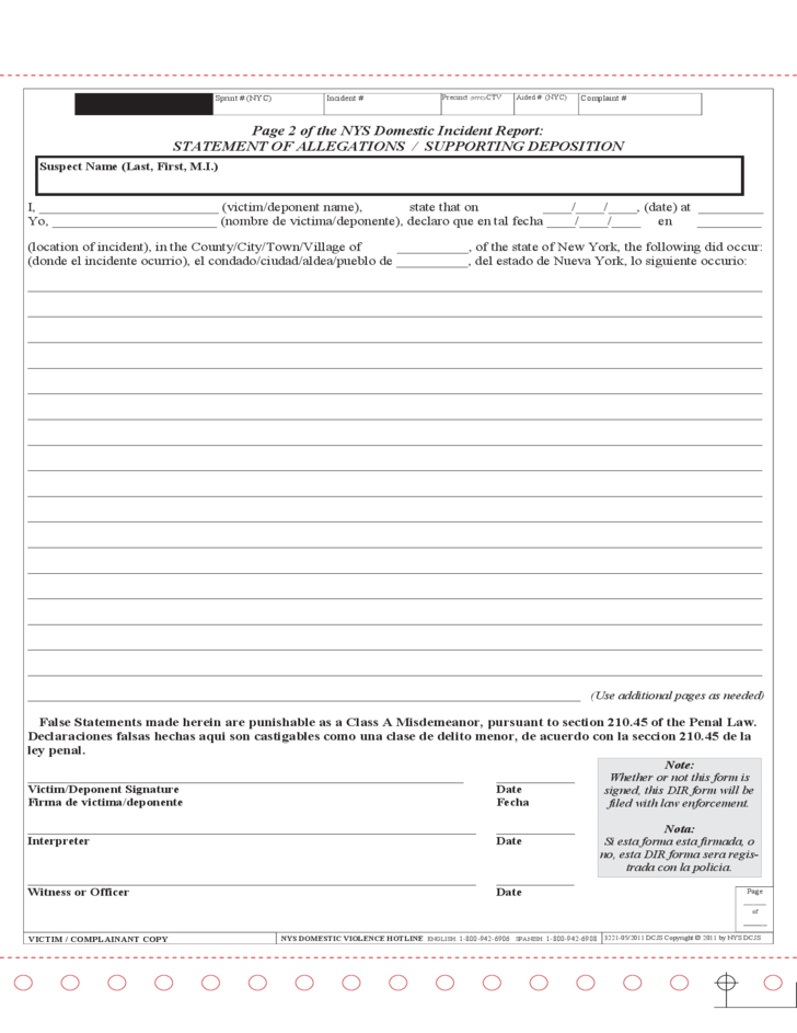 Standardized Domestic Incident Report - New York Free Download