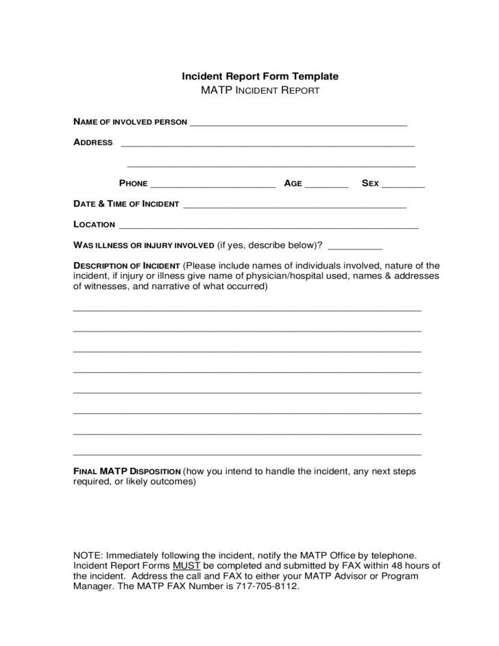 Incident Report Form Template Free Download