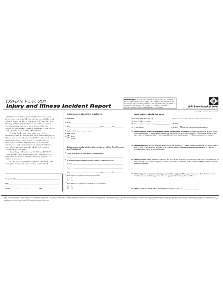 Injury and Illness Incident Report