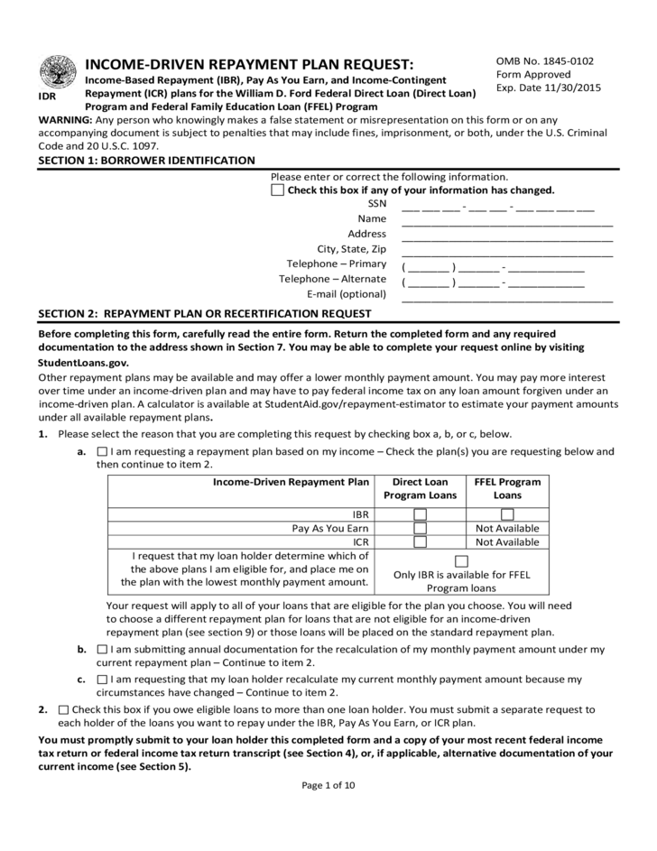 Income Based Repayment Form - ACS Free Download
