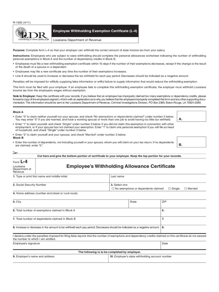 Employee Withholding Exemption Certificate (L-4) -Louisiana