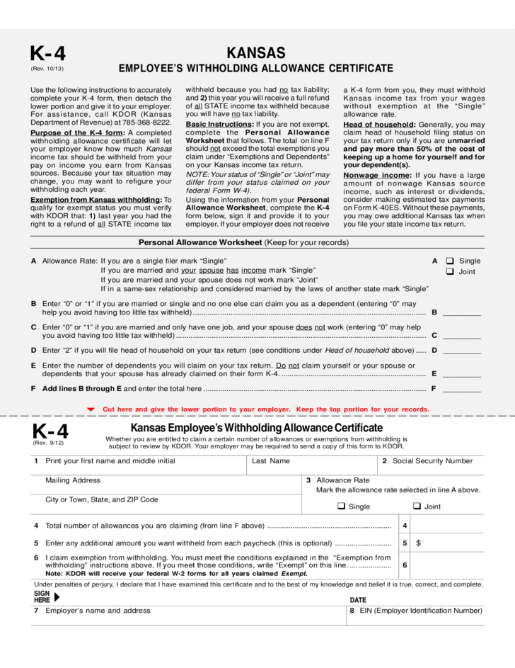 Employees Withholding Allowance Certificate - Kansas Free Download