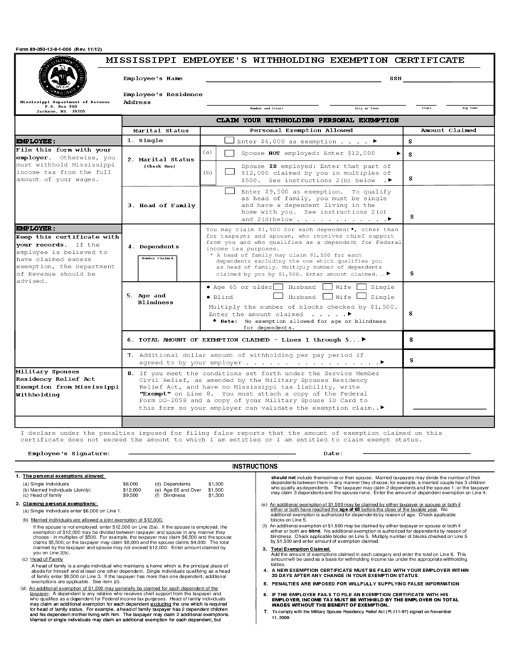 Employee's Withholding Exemption Certificate - Mississippi Free ...