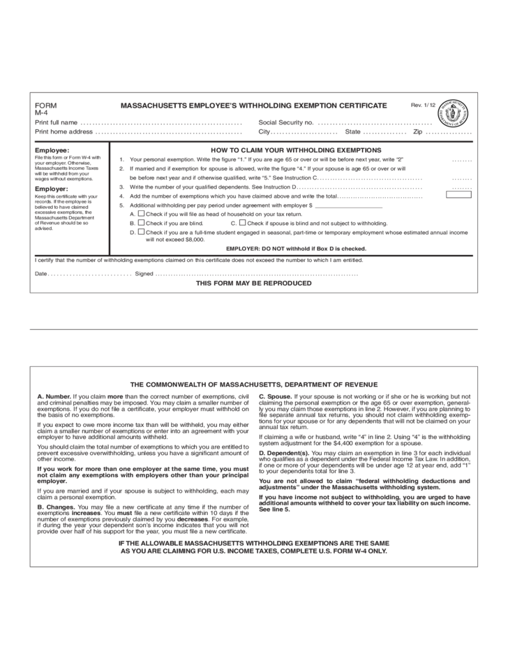 Employees Withholding Exemption Certificate Massachusetts Free