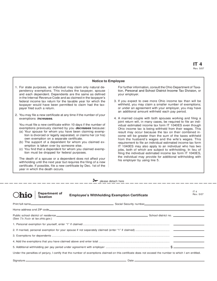 Employee's Withholding Exemption Certificate - Ohio Free Download