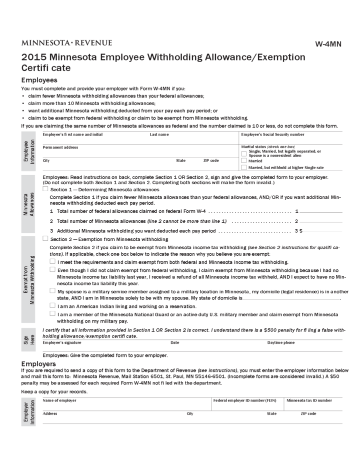 Employee Withholding Allowance/Exemption Certificate - Minnesota ...