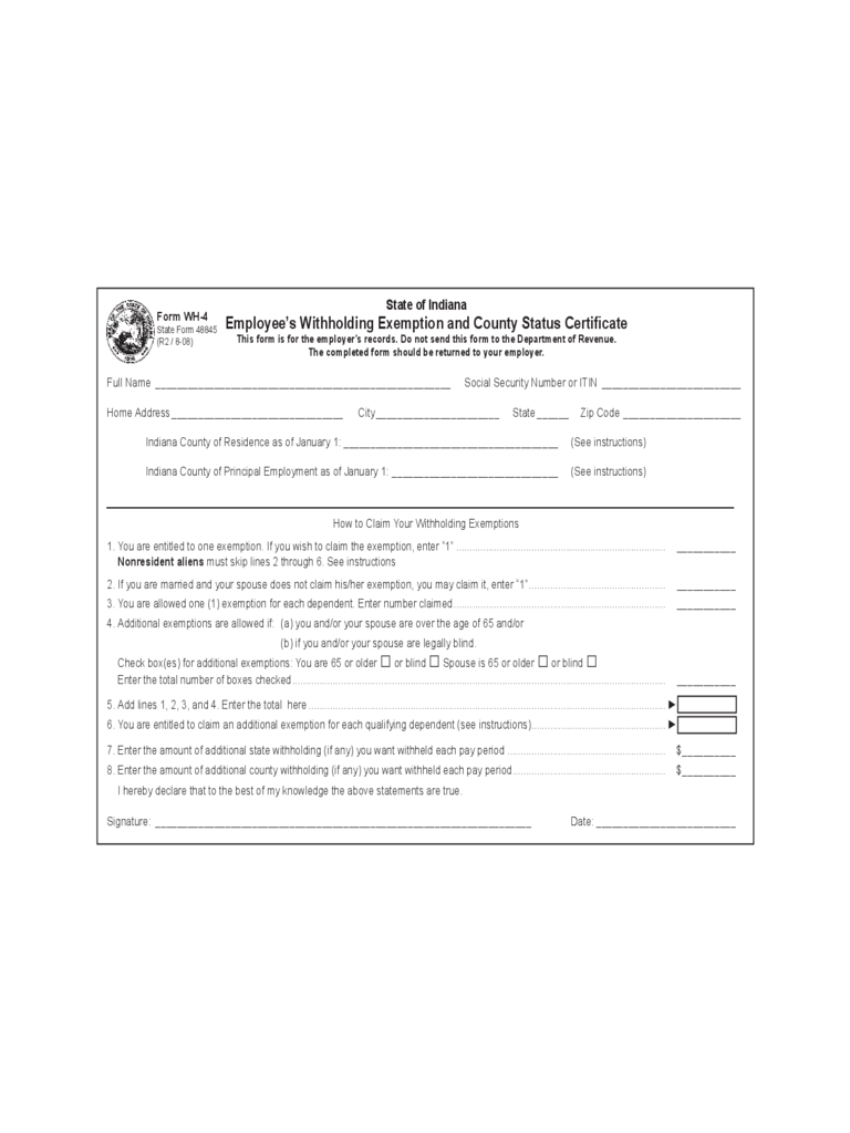 Employee's Withholding Exemption and County Status Certificate - Indiana