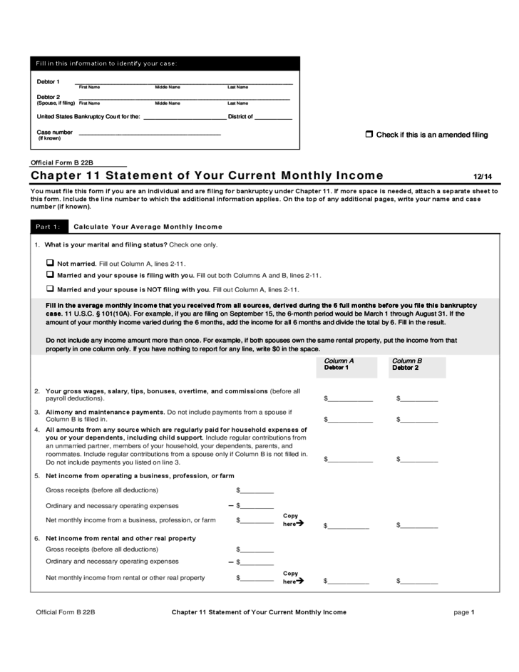 Your Current Monthly Statement Income Form Free Download