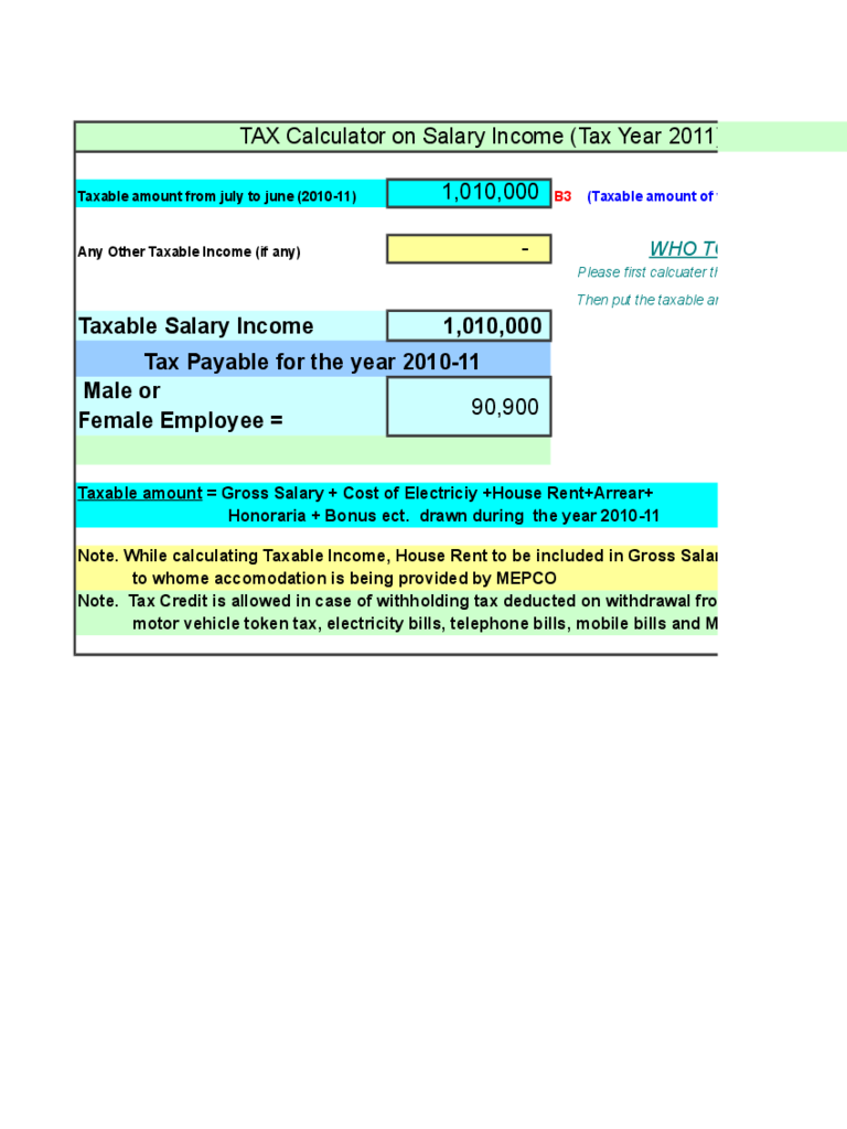 Income Tax Calculator Sample