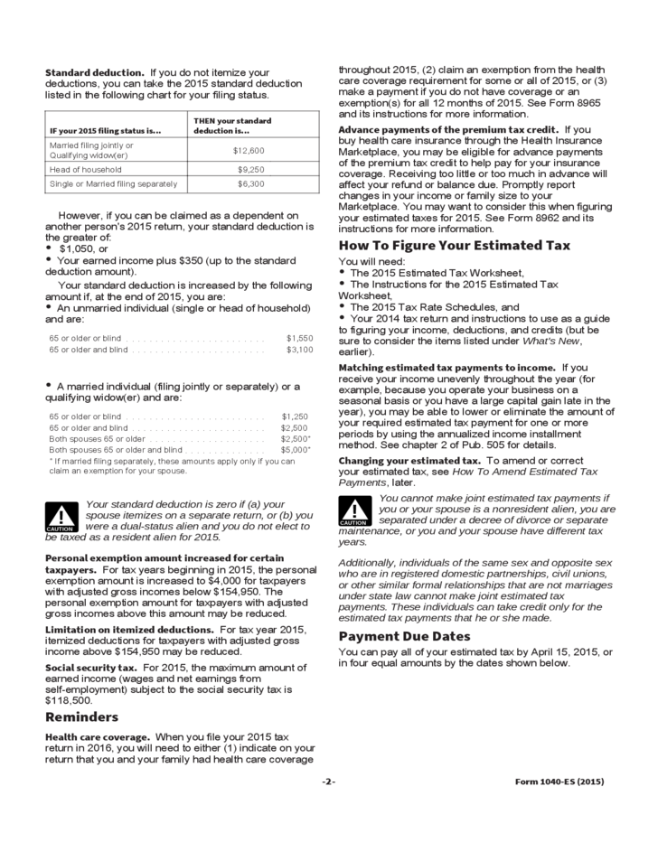 2015 Form 1040-ES Estimated Tax for Individual