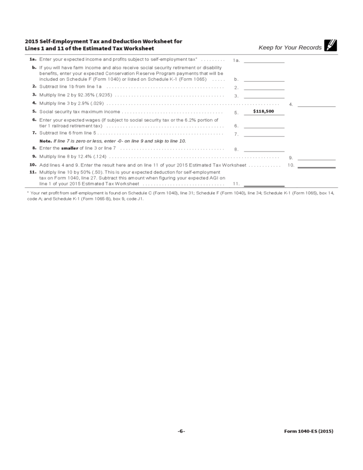 Printables 1040 Es Worksheet 2015 form 1040 es estimated tax for individual free download 6 individual