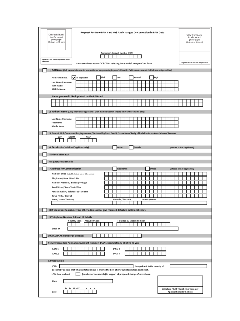 Pan Card Application Pdf