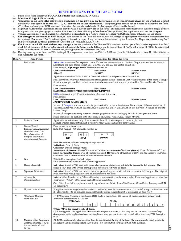 Sample Income Tax Pan Card Application Form