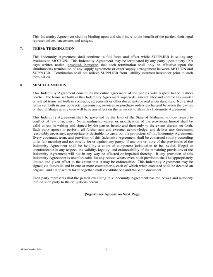 Sample Indemnity Agreement Free Download