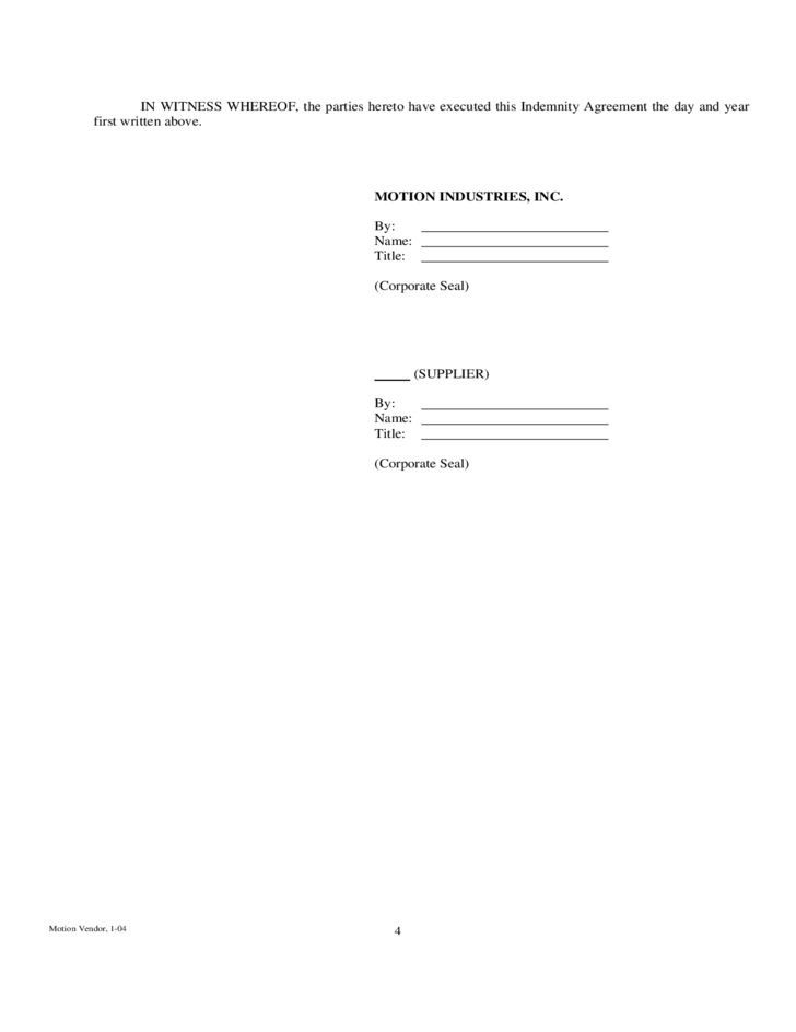 Indemnity Agreement Template amp Sample Form Biztreecom - mandegar.info