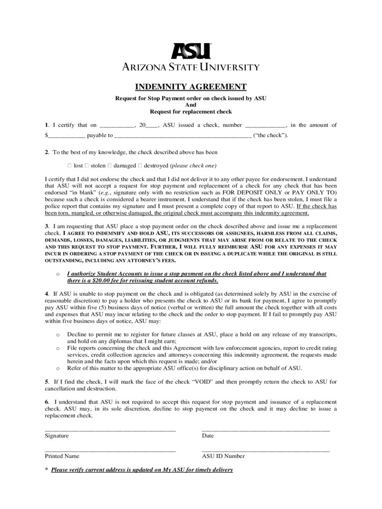 Sample Stop Payment Indemnity Agreement