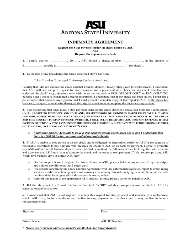 Sample Stop Payment Indemnity Agreement Free Download – Indemnity Agreement Template