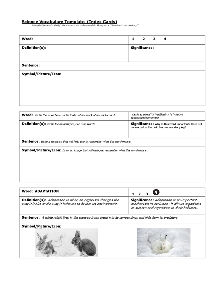 Science Vocabulary Index Card Template