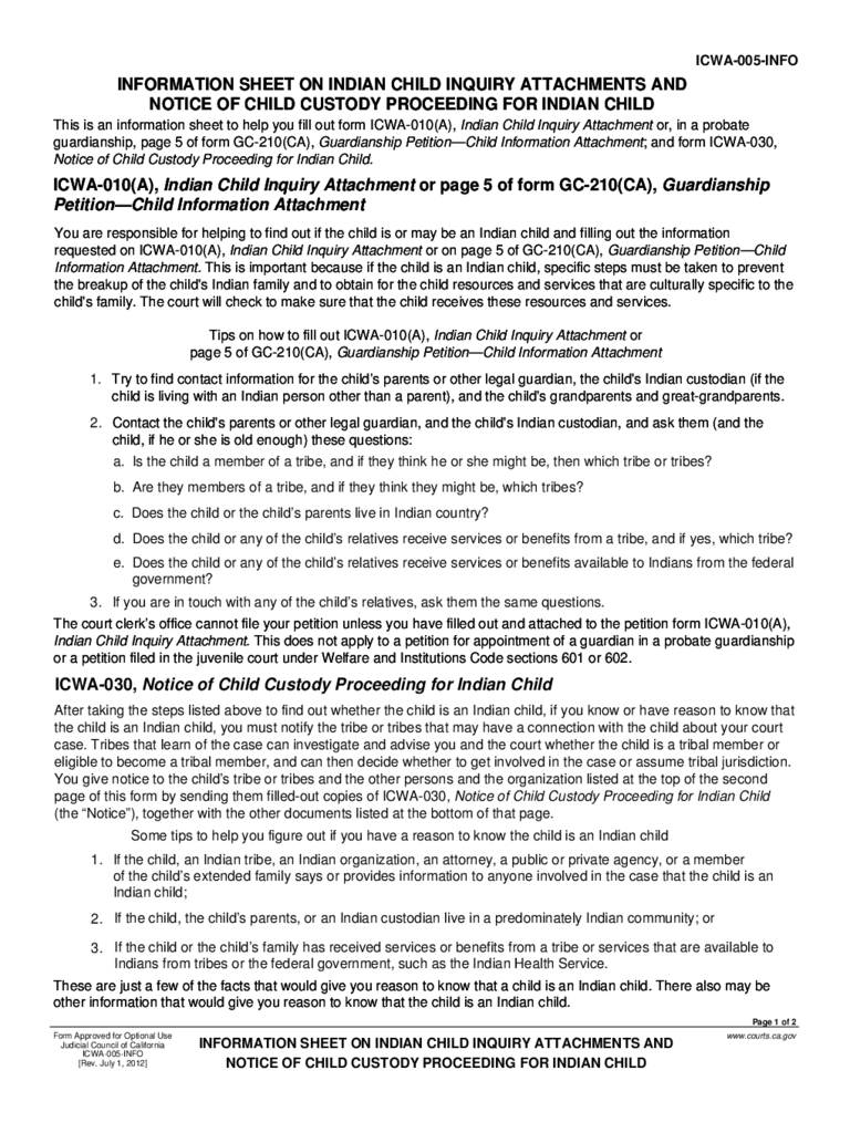ICWA-005-INFO Inquiry Attachment and Notice of Child Custody Proceeding for Indian Child