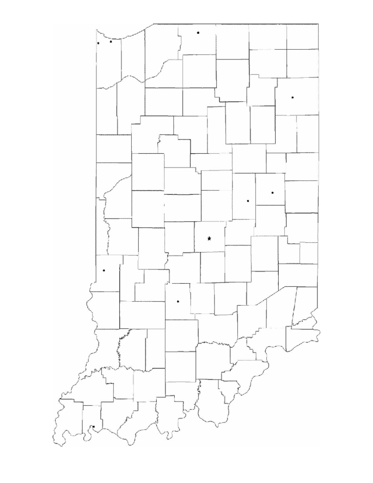 This is a graphic of Gorgeous Indiana County Map Printable