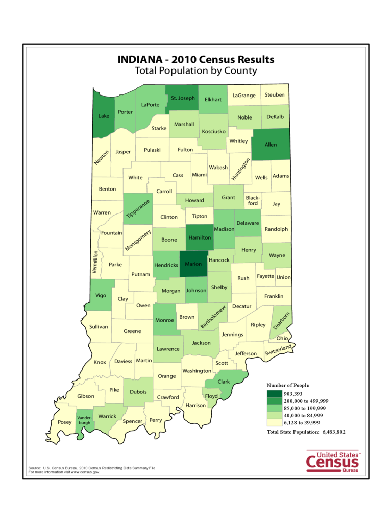 Indiana County Population Map