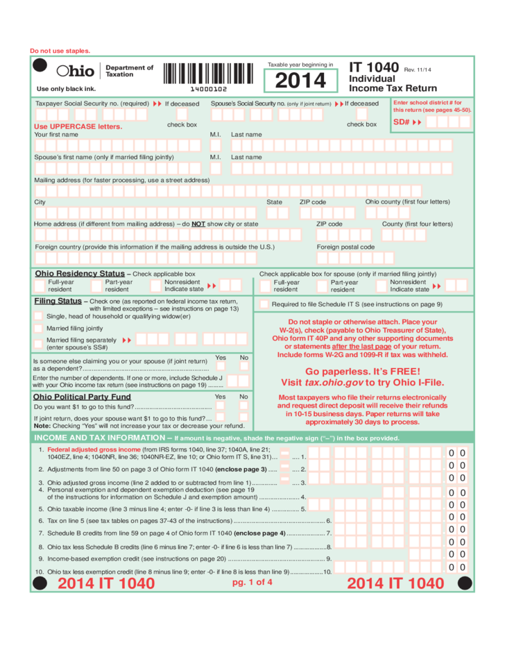 individual income tax return - ohio free download