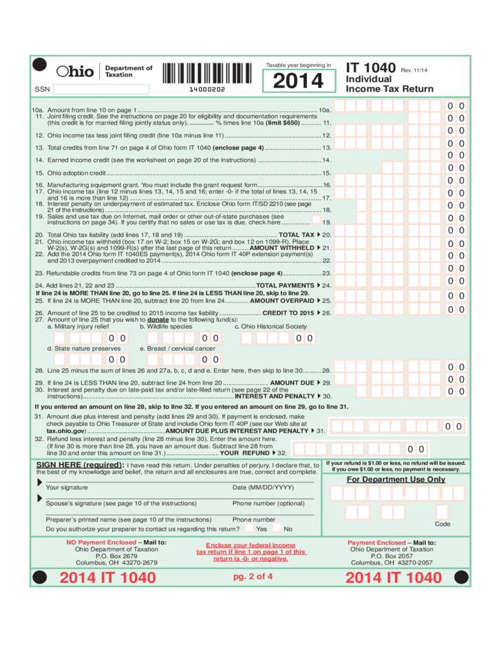 Individual Income Tax Return Ohio Free Download