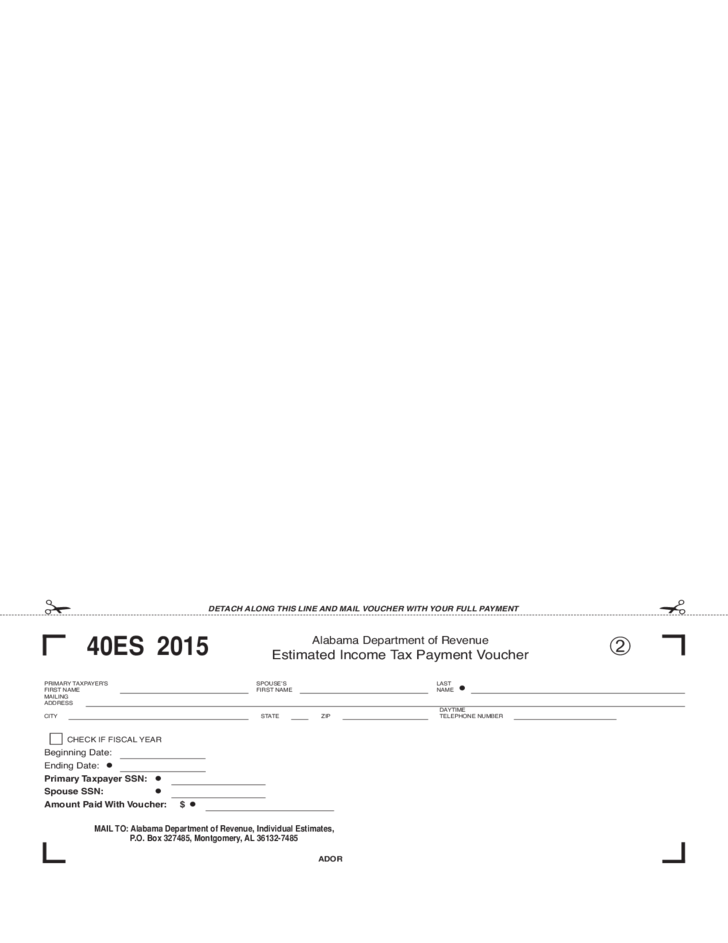 Estimated Tax Form - Alabama Free Download