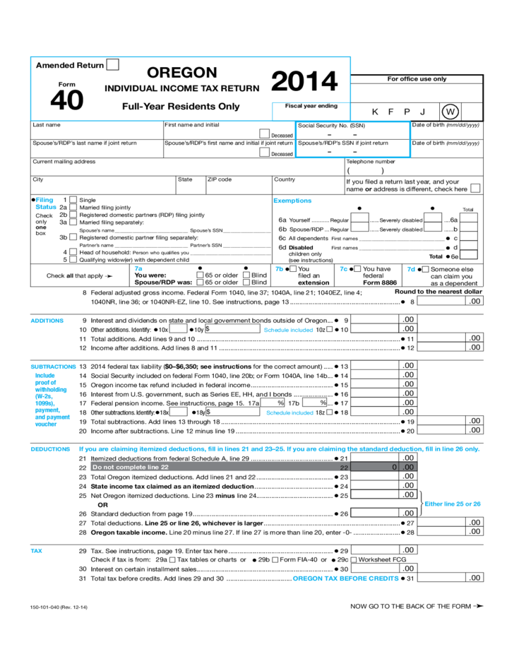 Individual Income Tax Return - Oregon Free Download