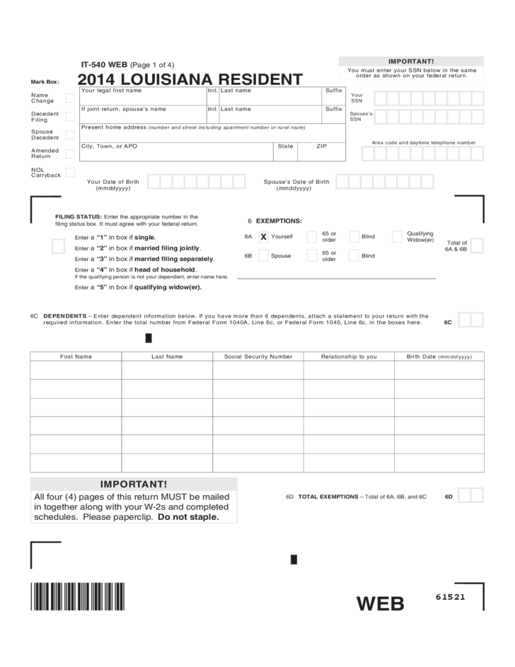 Resident Income Tax Return - Louisiana Free Download