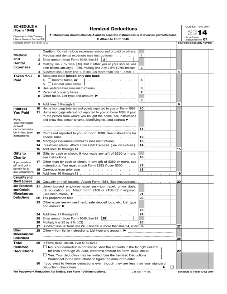 Form 1040 Schedule A Itemized Deductions Form 2014 Free Download