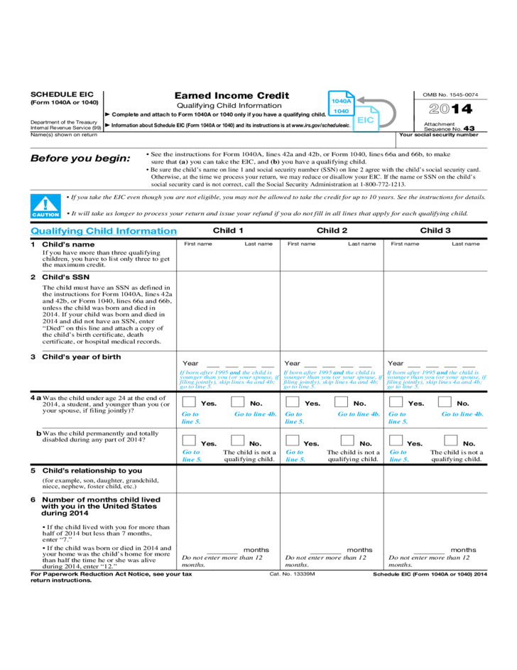 1040 Eic Worksheet | Worksheet & Workbook Site