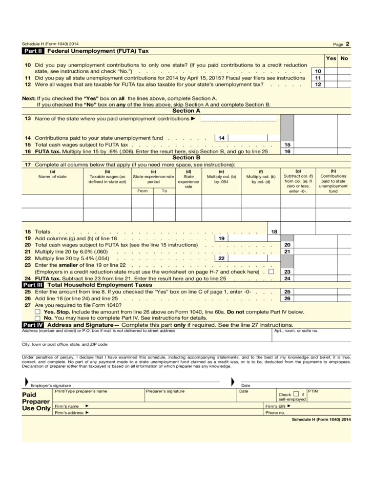 Form 1040 Schedule H Household Employment Taxes Form 2014 Free