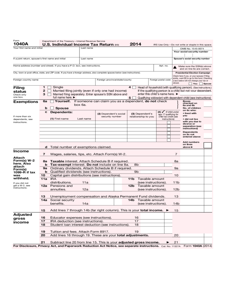 Form 1040 A Us Individual Income Tax Return Form 2014 Free