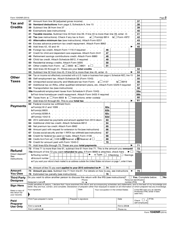 Form 1040 Nr Us Nonresident Alien Income Tax Return Form 2014