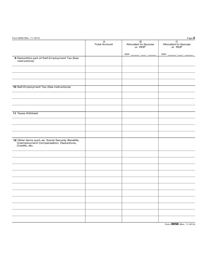 Form 8958 Allocation Of Tax Amounts Between Certain Individuals In