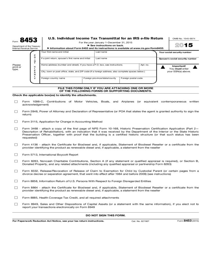 Form 8453 Us Individual Income Tax Transmittal For An Irs E File