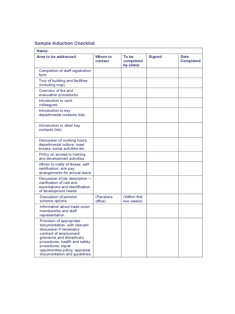Induction Checklist Template 2 Free Templates in PDF Word – Induction Checklist Template