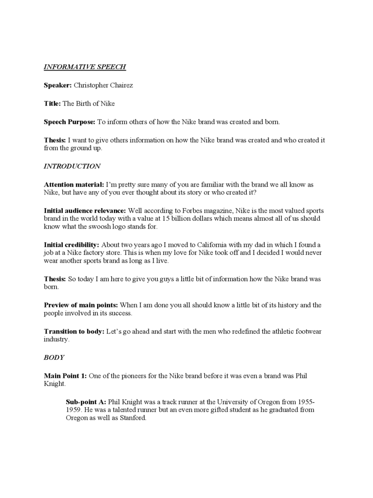 Informative Speech Template Free Download