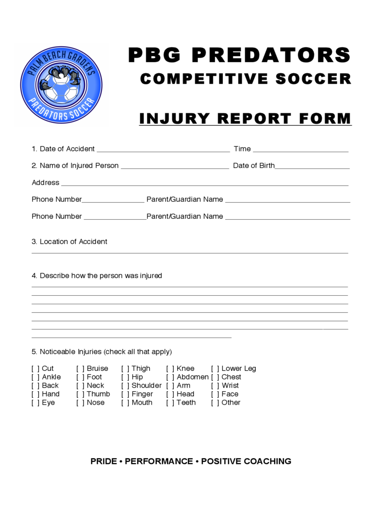 Injury Report Sample Form