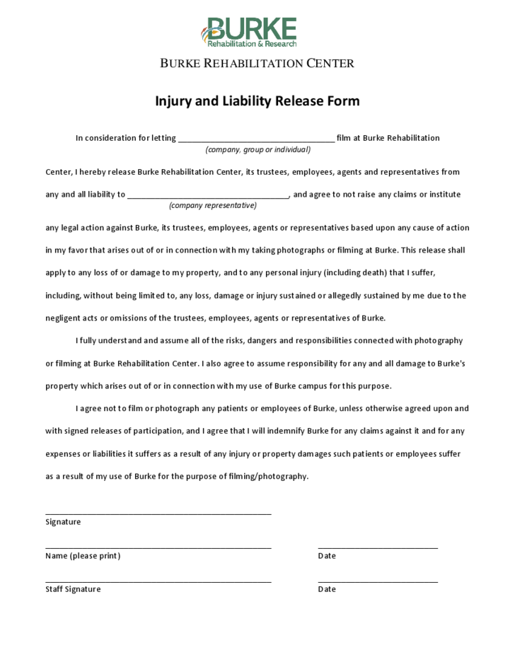 injury liability release form template – Liability Waiver Template Free