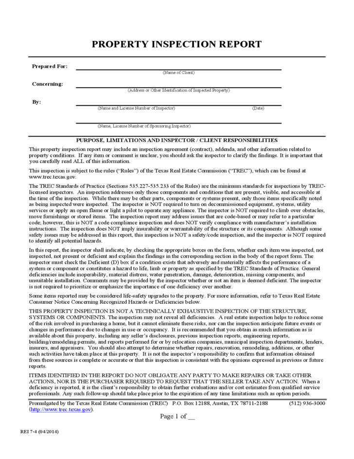 Inspection Report Form Texas Free Download